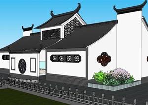 中式风格建筑公厕SU(草图大师)模型