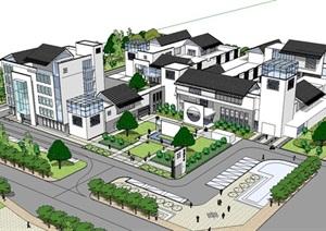 新中式建筑小区的SU(草图大师)模型