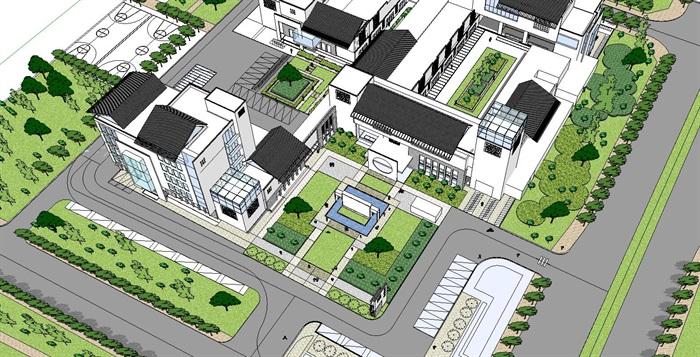 60--新中式建筑小區的SU模型(3)