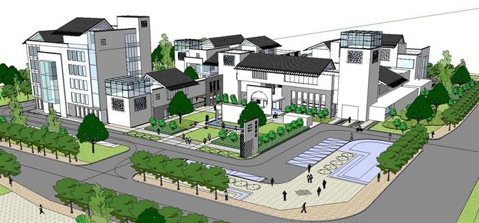 60--新中式建筑小區的SU模型(4)