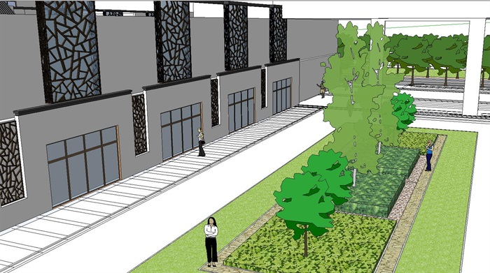 60--新中式建筑小區的SU模型(5)