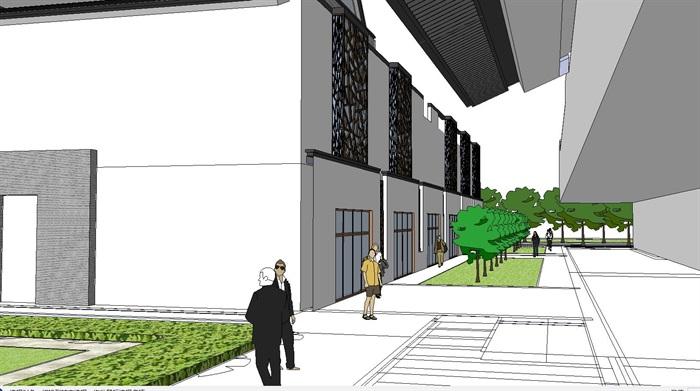 60--新中式建筑小區的SU模型(6)
