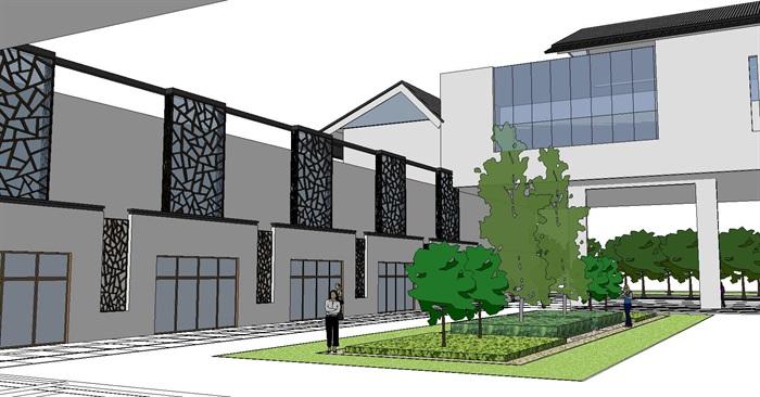 60--新中式建筑小區的SU模型(7)