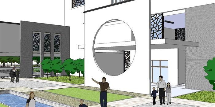 60--新中式建筑小區的SU模型(8)