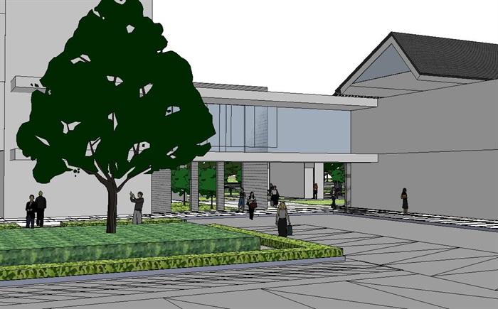60--新中式建筑小區的SU模型(10)