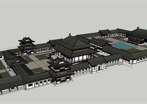 中式风格古建寺庙庙宇建筑的SU(草图大师)模型