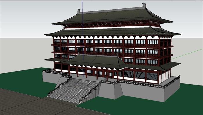 65--中式唐朝風格酒店建筑模型(1)