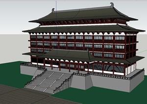中式唐朝风格酒店建筑模型