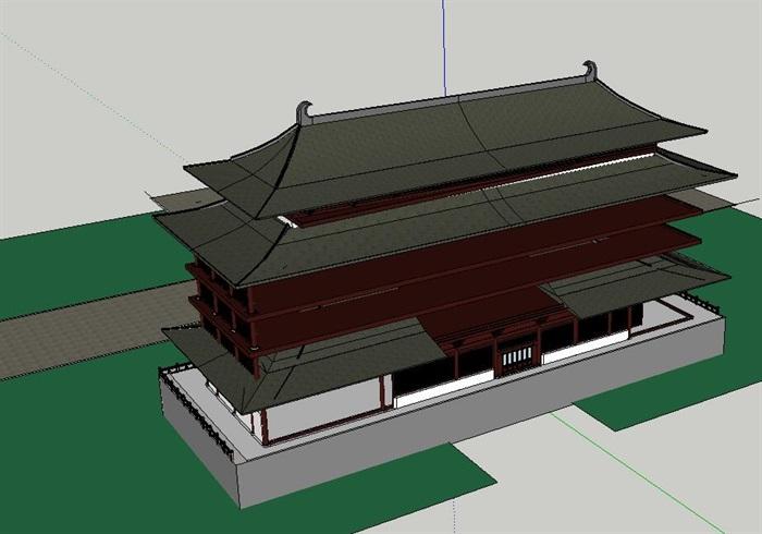 65--中式唐朝風格酒店建筑模型(2)