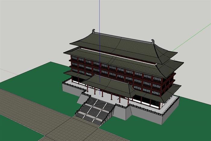 65--中式唐朝風格酒店建筑模型(3)