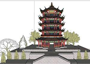 中式风格黄鹤楼古建筑模型
