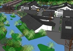 中式风格旅游度假建筑景观SU(草图大师)模型设计