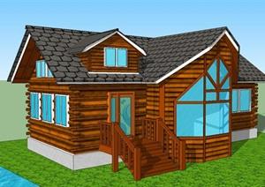 中式风格美国小木屋SU(草图大师)模型