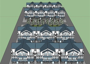 中式风格新农村房子SU(草图大师)模型设计