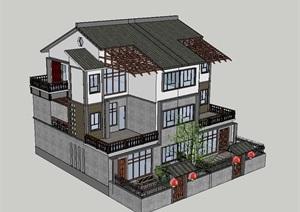 中式风格新农村住房建筑SU(草图大师)模型