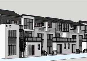 中式风格新中式别墅建筑SU(草图大师)模型