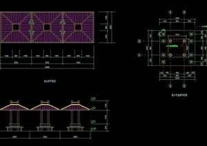 详细的整体完整亭子素材设计cad施工图