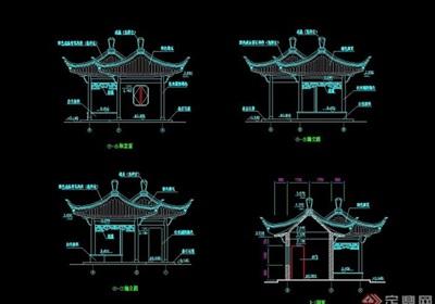 雙拼中式詳細的亭子設計cad施工圖