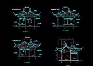 双拼中式详细的亭子设计cad施工图
