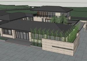中式风格办公楼房的SKP模型