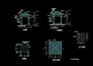 详细的中式完整亭子素材cad施工图