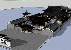 中式风格徽派寺庙建筑SU(草图大师)模型