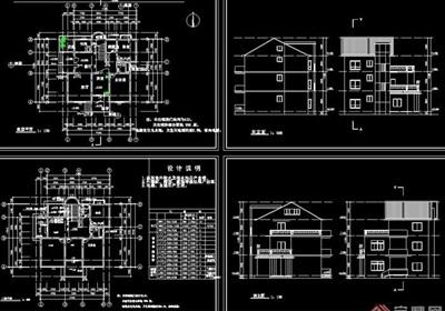 單棟別墅建筑cad施工圖