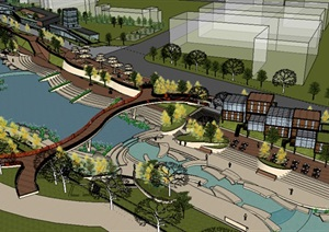滨水商业街景观设计详细设计SU(草图大师)模型