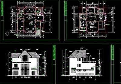 達華莊園別墅多層設計cad施工圖