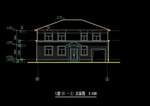 创业农庄L型别墅建筑cad方案图