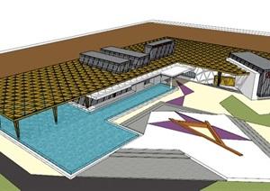 创意参数化结构木柱木构大屋顶构架社区活动中心售楼部展示区小型文化展示中心