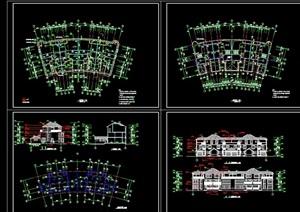 并联别墅建筑设计cad施工图纸