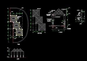 现代详细的组合亭cad施工图