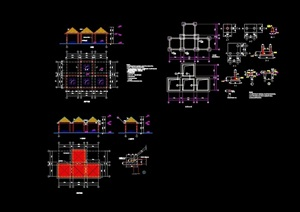 整体组合亭设计cad施工图