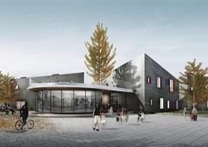 现代15班幼儿园建筑方案设计(含平立剖、实景图)