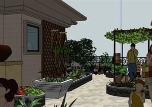 欧式风格精美的别墅建筑及景观花园SU(草图大师)模型