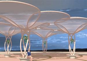 欧式风格现代廊架模型座椅