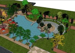 小型的花园景观设计SU(草图大师)模型