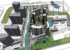 现代风格商业景观设计SU(草图大师)模型