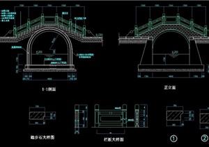 中式详细的园桥完整设计cad施工图