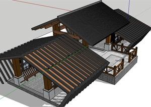 中式风格钢构长廊的SU(草图大师)模型