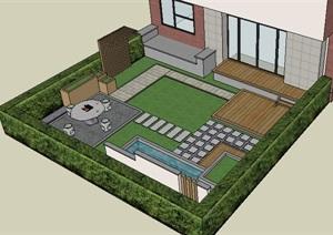 现代主义风格观棠庭院详细景观设计SU(草图大师)模型