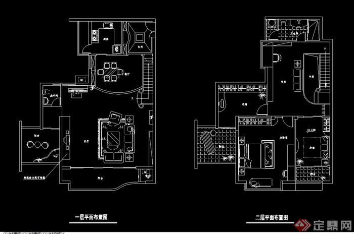 现代多层详细的别墅室内设计cad施工图