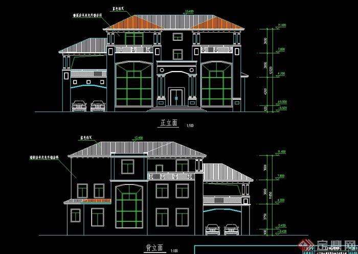 某歐式詳細的整體完整的別墅設計cad施工圖