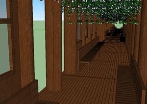 中式风格木质滨水廊架长廊模型