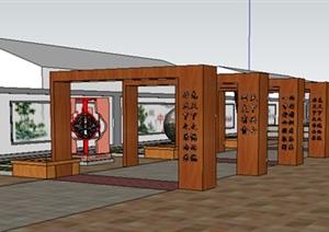 中式风格乡村农村休闲广场设计SU(草图大师)模型