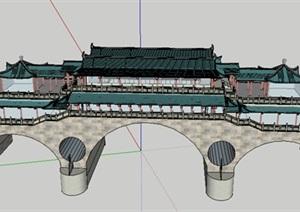 中式风格桥上的寺庙古建模型