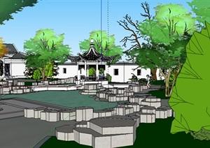 中式风格景观古建园林设计SU(草图大师)模型