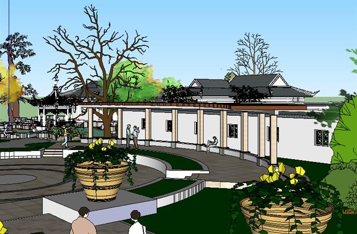 中式风格景观古建园林设计su模型[原创]