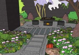中式风格个人私家花园的SU(草图大师)模型整体下半部分